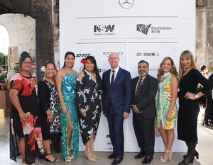 TC Sydney CJ, Fiji High Commissioner to Australia Mr Yogesh Punja, Managing Director of Fiji Fashion week with our 5 Pacific designers at the Pacific Resort show.