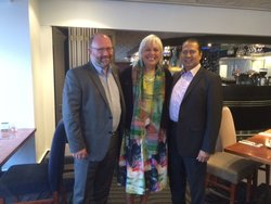 Winnie Laban, Assistant Vice Chancellor (Pasifika) of Victoria University (centre) with Mr Greenslade and Mr Valdez.