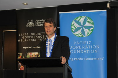 Kacific's CEO Christian Patouraux speaking at the Pacific Wave Conference 2016 in Auckland.