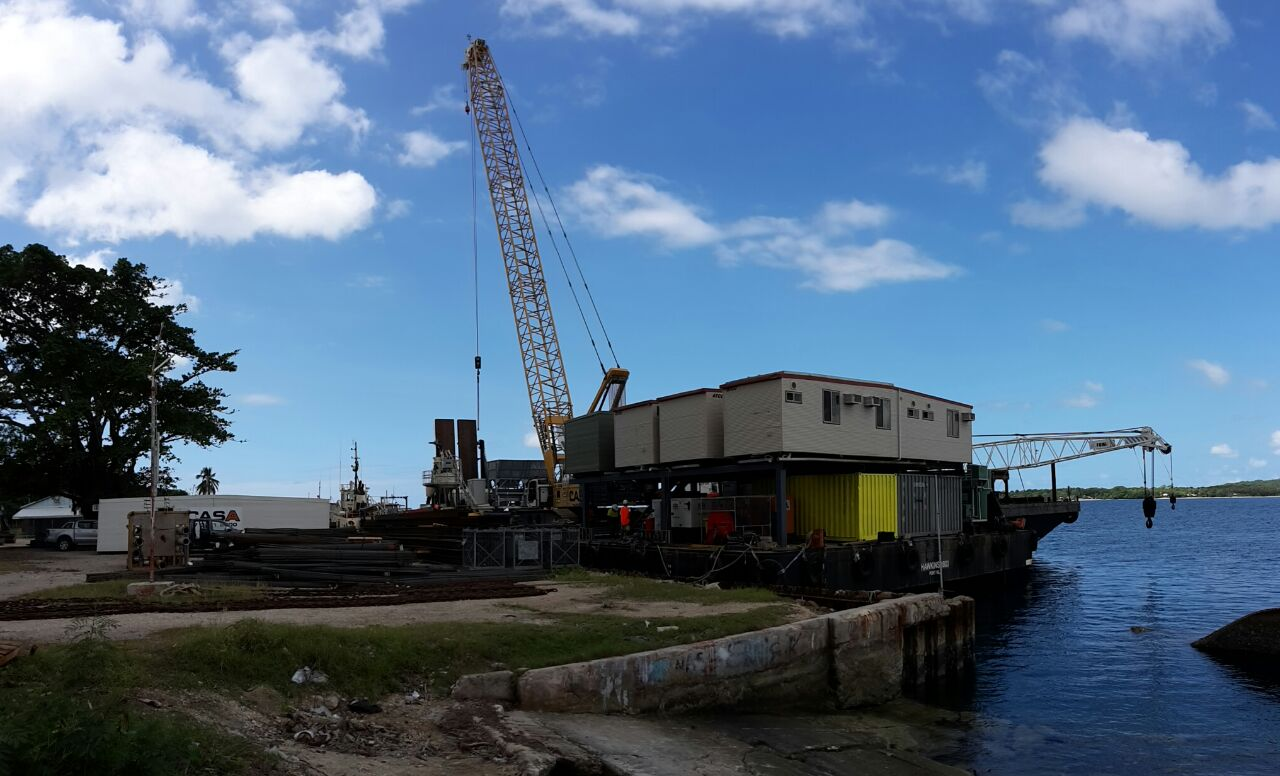 HIL Simonsen works site with a crane barge being made ready for work.