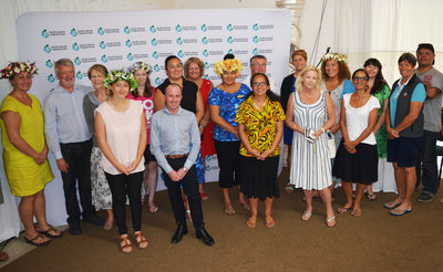 PT&I's Chad Morris (6th left, forefront) with the participants at the Cook Islands digital tourism workshop held at the Crown Beach Resort in Aorangi.