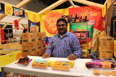 FMF's Rakesh Raju at the Auckland Food Show. FMF was one of eight Pacific food and beverage companies whose participation PT&I facilitated at the show.