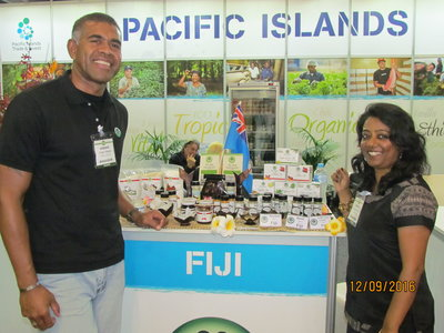 FRIEND Fiji's Dr Jone and Sashi Kiran at the Fine Food Australia stand in Melbourne.