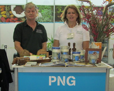 Niugini Organics' Dennis Hill and Pauline Cleaver at the Pacific Islands stand at Fine Food Australia in Melbourne.