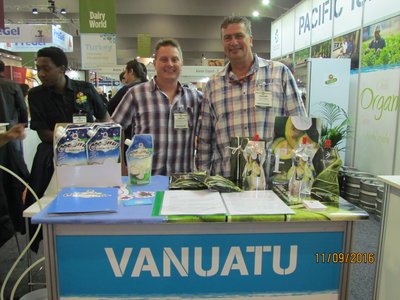 A participating company from Vanuatu at PT&I's Pacific Islands stand at the Fine Food Australia show in Melbourne.