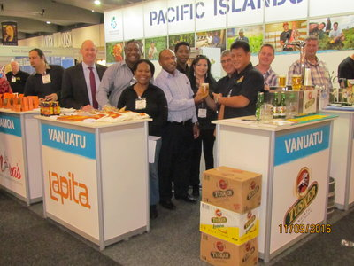 The PT&I team with the participants at the stand at the Fine Food Australia show in Melbourne.