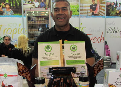 Dr Jone with FRIEND Fiji's healthy foods range at the Fine Food Australia show in Melbourne.