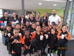 Emeline Afeaki-Mafile'o (Back row second right), with the children from Rise Up Charter Primary School during Tonga Language week.