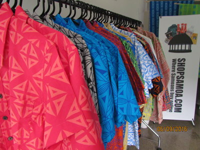 The range of shirts at the pop up store.
