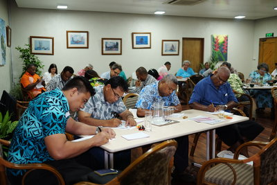Participants busy at the Fish 2.0 workshop in Fiji earlier this month.
