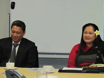 Fiti Leung Wai (right) and husband Aumua Ming Leung Wai at PT&I's Auckland office in 2015.