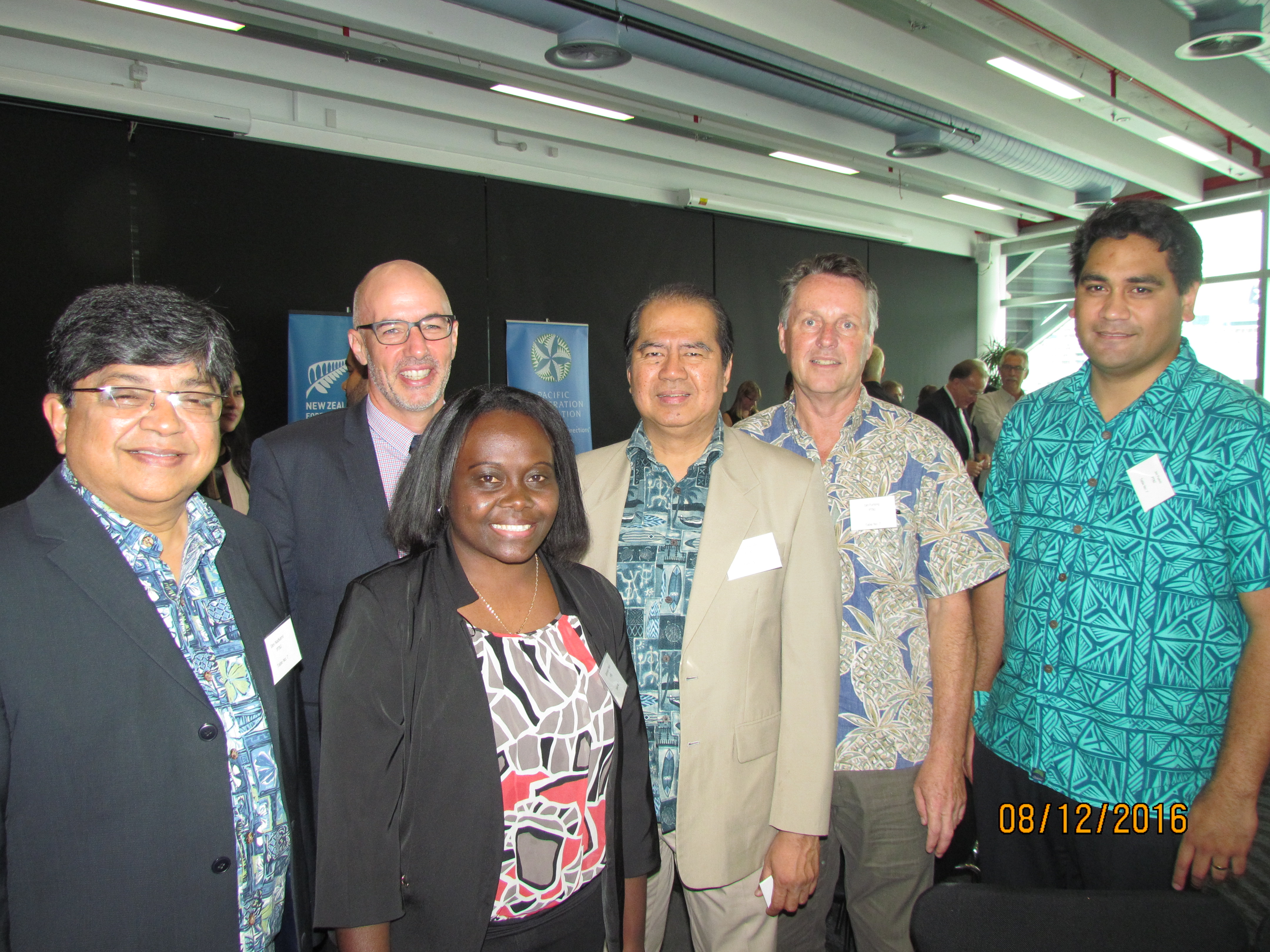 Mark Ramsden, NZ High Commissioner to Fiji (second from left) with the PT&I team (from left) Dev Nadkarni, Genevieve Mautu, Manuel Valdez, Ian Furlong and Joe Fuavao (not in picture Michael Greenslade and Eleanor Ikinofo).