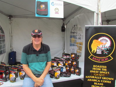Patrick Killoran of Banz Kofi at his booth at the Pasifika Festival in Auckland early this year, which was the first of several trade shows Banz participated in throughout the year.