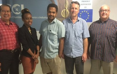 At the SICCI office in Honiara: L-R: Manuel Valdez, Vanessa Teutao, Advocacy Officer of SICCI, Neil Niua, Membership Officer, Ian Furlong, and Charles Persson, Business Analyst (Volunteer)