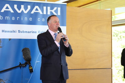 NZ Prime Minister John Key after launching the Hawaiki cable project site, which will probably go down as the last big project that Mr Key launched as PM ahead of his resignation surprise this week.