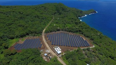 An aerial view of the island (Picture courtesy SolarCity Blog).