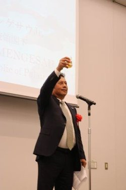 President Tommy Remengesau of Palau proposes the toast at the celebrations.