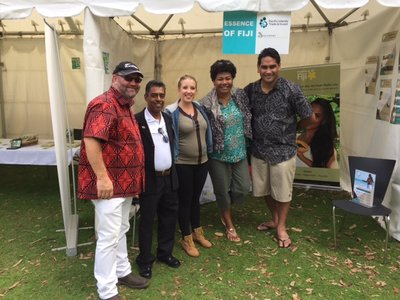 Pasifika 2016: PT&I NZ trade Commissioner Michael Greenslade (left) and Trade development manager Joe Fuavao (extreme right) with participants at the festival last year.