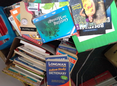 Some of the school resources bound to Tonga from New Zealand.