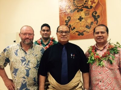 Trade Commissioner Michael Greenslade, Minister Dr Pohiva Tu'I'onetoa of Ministry of Commerce, Consumer, Trade, Innovation & Labour, COO and Head of Investment Manuel Valdez. At the back, Trade Development Manager Joe Fuavao.