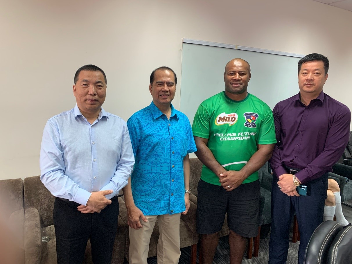 L-R Chairman of One Belt, One Road NZ Ltd. John Hong, PTI's Chief Investment Officer Manuel Valdez, Founder of Fiji Rugby Academy Seremaia Bai, Chairman of Kawawaka Pacific Partnerships Tate Hui