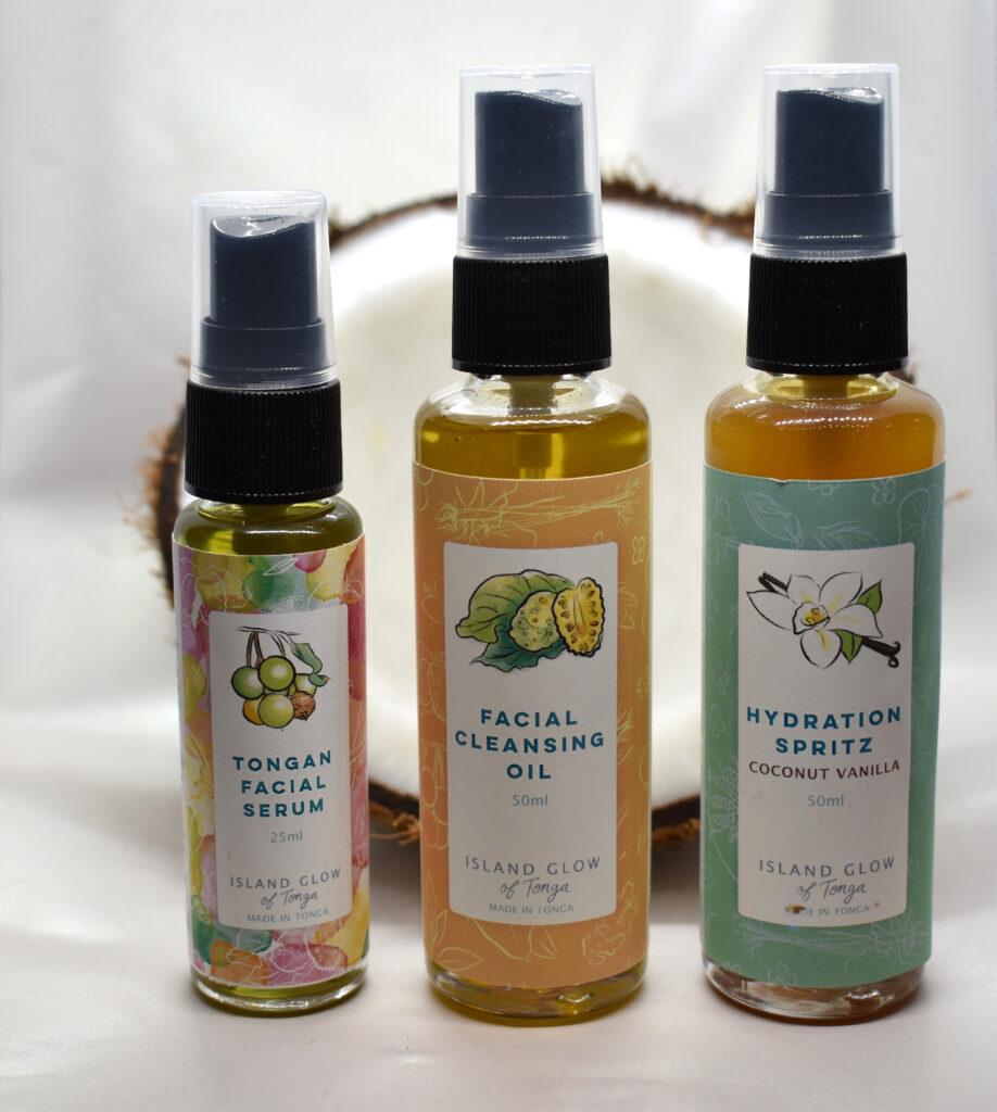 Three beauty products from Island Glow, facial serum, cleansing oil and hydration spritz