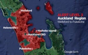 Map of Level 3 Lockdown Auckland