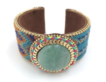 New-European-Jewelry-Suppliers-handmade-weaving-bracelet-Red-Phosphorus-stone-wide-bangle-bracelet-Bohemia-for-women